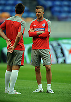 David Beckham with Team Mate John Terry<br /> England 2009/10<br /> England Training Session in the Amsterdam Arena 11/08/09<br /> Photo Robin Parker Fotosports International