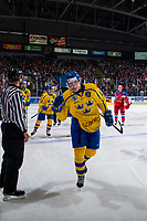 KELOWNA, BC - DECEMBER 18:  Johan Södergran #13 of Team Sweden skates to the bench to celebrate a goal against Team Russia at Prospera Place on December 18, 2018 in Kelowna, Canada. (Photo by Marissa Baecker/Getty Images)***Local Caption***