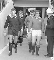 1971.British Lions Tour of NZ.4th Test Auckland,Eden Park. Test Captains Colin Meads and John Dawes lead their teams out for the 4th and last test.Result draw 14 all.Bush Pic