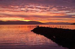 Jetty at Dawn at Ilwaco Harbor, Ilwaco, Washington, US