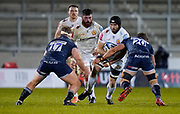 Exeter Chiefs Don Armand runs into Sale Sharks Sam Dugdale during a Gallagher Premiership Round 11 Rugby Union match, Friday, Feb 26, 2021, in Eccles, United Kingdom. (Steve Flynn/Image of Sport)