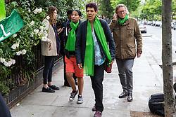 London, UK. 14 June, 2019. Moyra Samuels of Justice4Grenfell and Lucy Masoud of the Fire Brigades Union arrive to attend a memorial service at St Helen's Church to mark the second anniversary of the Grenfell Tower fire on 14th June 2017 in which 72 people died and over 70 were injured.