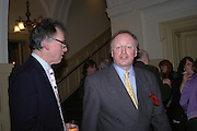 Andrew Barrow and  Andrew Parker Bowles. Annabel Freyberg and Andrew Barrow drinks party. The Royal Geographical Society. 5 January 2006. ONE TIME USE ONLY - DO NOT ARCHIVE  © Copyright Photograph by Dafydd Jones 66 Stockwell Park Rd. London SW9 0DA Tel 020 7733 0108 www.dafjones.com