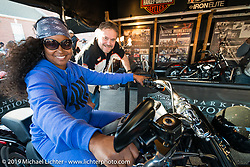 Shmika Fulks in the HD Jumpstart display at the Biking on the Boulevard event during Daytona Bike Week. FL, USA. March 14, 2014.  Photography ©2014 Michael Lichter.