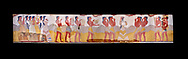 The Minoan 'Procession Fresco', wall art from the South Prpylaeum, Knossos Palace, 1500-1400 BC . Heraklion Archaeological Museum. Black Background. <br /> <br /> This latrge Minoan fresco of many figure in procession would have decorated the corridor between the West Porch and the South Propylaeum of Knossos Palace. Both sides of the corridor were painted with hundreds of male and femal;e figures carrying precious utensils and vessels, probably depicting gift bearers to the ruler of the Palace. The composition is much like those found in the Palaces and tombs of Egypt and the near east at the time. Neopalatial final period. .<br /> <br /> If you prefer to buy from our ALAMY PHOTO LIBRARY  Collection visit : https://www.alamy.com/portfolio/paul-williams-funkystock/minoan-art-artefacts.html . Type -   Heraklion   - into the LOWER SEARCH WITHIN GALLERY box. Refine search by adding background colour, place, museum etc<br /> <br /> Visit our MINOAN ART PHOTO COLLECTIONS for more photos to download  as wall art prints https://funkystock.photoshelter.com/gallery-collection/Ancient-Minoans-Art-Artefacts-Antiquities-Historic-Places-Pictures-Images-of/C0000ricT2SU_M9w