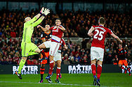 Middlesbrough goalkeeper Brad Guzan (12)  comes to claim the ball during the The FA Cup match between Middlesbrough and Sheffield Wednesday at the Riverside Stadium, Middlesbrough, England on 8 January 2017. Photo by Simon Davies.