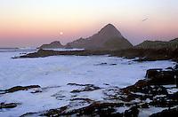 Sunrise overlooking Maintop Island as the moon sets  - Southeast Farallon Island