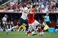 Olivier GIROUD of France, Thomas DELANEY of Denmark during the 2018 FIFA World Cup Russia, Group C football match between Denmark and France on June 26, 2018 at Luzhniki Stadium in Moscow, Russia - Photo Thiago Bernardes / FramePhoto / ProSportsImages / DPPI