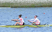 Reading. United Kingdom.  GBR W2-. Michelle PEARSON and Katherine DOUGLAS, in the opening strokes of the morning time trial. 2014 Senior GB Rowing Trails, Redgrave and Pinsent Rowing Lake. Caversham.<br /> <br /> 10:45:51  Saturday  19/04/2014<br /> <br />  [Mandatory Credit: Peter Spurrier/Intersport<br /> Images]