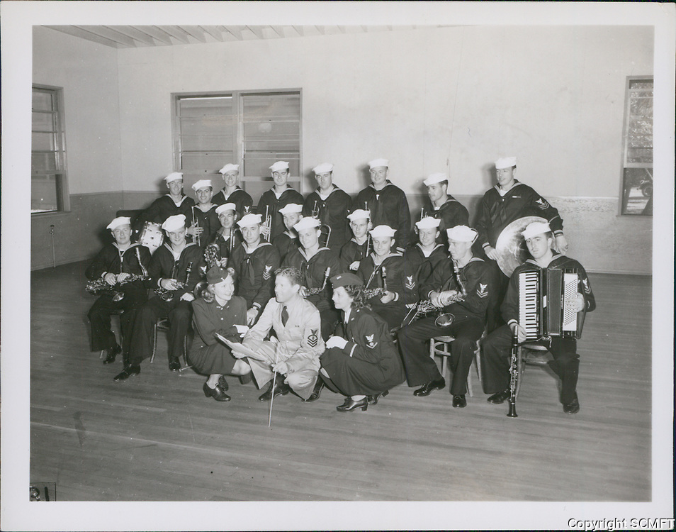 1943 Rudy Valle and his Coast Guard Band getting ready to entertain at the Hollywood Canteen
