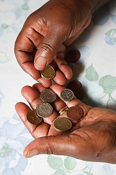 Old lady counting her money