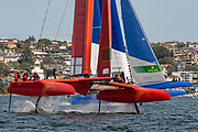 SailGP China Team and SailGP France Team on leg one the first leg in race two on day two of competition. Event 1 Season 1 SailGP event in Sydney Harbour, Sydney, Australia. 16 February 2019. Photo: Chris Cameron for SailGP. Handout image supplied by SailGP