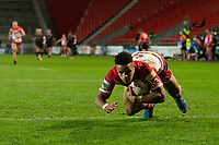 Rugby League - 2020 Betfair Super League - Semi-final - St Helens vs Catalan Dragons - TW Stadium<br /> <br /> St. Helens's Regan Grace goes over to score a try<br /> <br /> COLORSPORT/TERRY DONNELLY