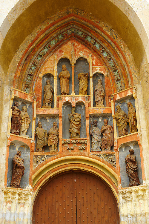 14th century Portal of St Marks Church  (Crkva sv. Marka) with sculptors by the Parler family, Zagreb, Croatia .<br /> <br /> Visit our CROATIA HISTORIC SITES PHOTO COLLECTIONS for more photos to download or buy as wall art prints https://funkystock.photoshelter.com/gallery-collection/Pictures-Images-of-Croatia-Photos-of-Croatian-Historic-Landmark-Sites/C0000cY_V8uDo_ls