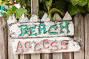 Handmade street sign in the tiny village of Hope Town, Elbow Cay Abacos, Bahamas.
