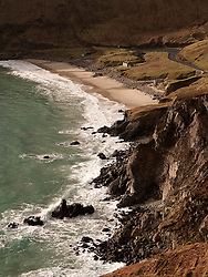 Beach and cliffs at Keem Bay on Achill Island in County Mayo Ireland