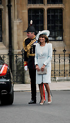 29 April 2011. London, England..Royal wedding day. Catherine Middleton's mother Carole arrives for the service at Westminster Abbey..Photo; Charlie Varley.