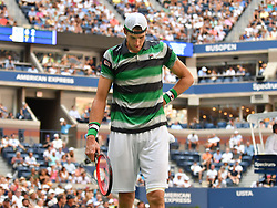 September 4, 2018 - Flushing Meadow, NY, U.S. - FLUSHING MEADOW, NY - SEPTEMBER 04: John Isner (USA) in action during his quarter-final match against John Isner (USA) in the Men's Singles Championships of the US Open on September 4, 2018, at the Billie Jean King Tennis Center in Flushing Meadow, NY. (Photo by Cynthia Lum/Icon Sportswire) (Credit Image: © Cynthia Lum/Icon SMI via ZUMA Press)