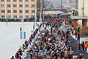 DANDONG, CHINA - JANUARY 18: <br /> <br /> Thousands of Parents Pick Up Their Children from school for Winter Holiday<br /> <br /> Parents pick up their children from school for winter holiday at Donggang No.1 Middle School on January 18, 2017 in Dandong, Liaoning Province of China. Over 6,000 parents walk into school campus to take their children home for Spring Festival holiday.<br /> ©Exclusivepix Media