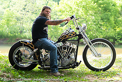Clinton Wallace with his custom Panhead in the BC Moto Show at the Tennessee Motorcycles and Music Revival at Loretta Lynn's Ranch. Hurricane Mills, TN, USA. Friday, May 21, 2021. Photography ©2021 Michael Lichter.