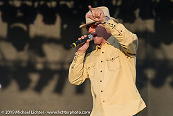 Jay Allen MC's at Arizona Bike Week's Cycle Fest at Westworld. USA. April 5, 2014.  Photography ©2014 Michael Lichter.