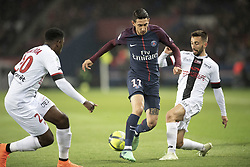 PARIS, April 30, 2018  Angel Di Maria (C) from Paris Saint-Germain competes with Nicolas Benezet (R) and Felix Eboa Eboa from Guingamp during their match of French Ligue 1 2017-18 season 35th round in Paris, France on April 29, 2018. Paris Saint-Germain equals Guingamp with 2-2 at home. (Credit Image: © Jack Chan/Chine Nouvelle/Xinhua via ZUMA Wire)