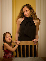 Author and academic Katie Roiphe poses for a portrait with her daughter Violet, 4, in their Brooklyn, NY home, May 21, 2008.