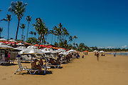 A living area on the sand stretch near the small town center in Taipu de Fora beach, in the brazilian state of Bahia. The restaurants keep an area in the sand stretch to serve meals on the beach. Diego Murray / 4See