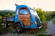 Vintage lorry parked in vinyard, 18th October 2016, Lagrasse, France.