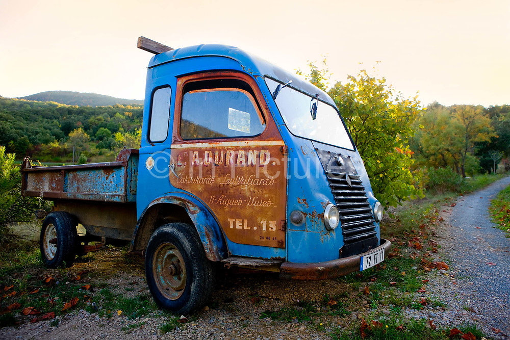 Vintage lorry parked in vinyard, 18th October 2016, Lagrasse, France.