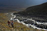 Hiking, trekking in the Kebnekaise mountain area, Giebnegaise, Lappland, Lapland, Norrbotten, Sweden, Magnus Svensson and Julia Wigren, mountain guides, STF Kebnekaise Mountain Station, Laponia UNESCO World Heritage Site, Lapland, Sweden