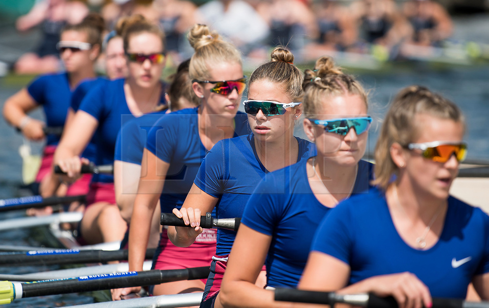 © Licensed to London News Pictures. 04/07/2018. Henley-on-Thames, UK. Rowers form Oxford Brookes Rowing Club prepare to race at day one of the Henley Royal Regatta, set on the River Thames by the town of Henley-on-Thames in England. Established in 1839, the five day international rowing event, raced over a course of 2,112 meters (1 mile 550 yards), is considered an important part of the English social season. Photo credit: Ben Cawthra/LNP
