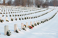 65095-02919 Wreaths on graves in winter Jefferson Barracks National Cemetery St. Louis,  MO