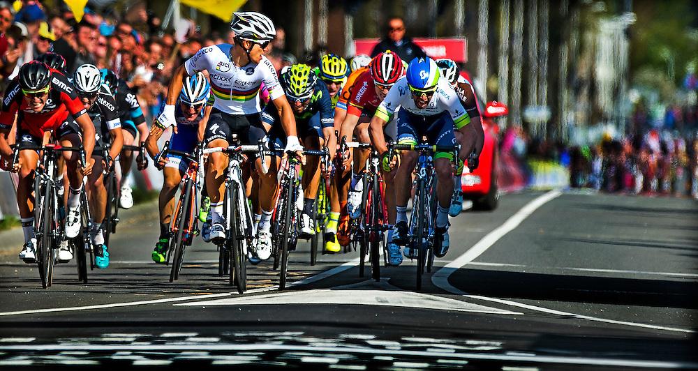 Nederland, Valkenburg, 19-04-2015.<br /> Wielrenne, Mannen, Elite.<br /> Amstel Gold Race 2015.<br /> Michal Kwiatkowski in de regenboog trui, kijkt enkele meters voor de finishlijn al om en ziet dat Alejandro Valverde ( achter hem in het blauw geel van Movistar ) en Michael Matthews ( in het blauw wit van Orica Greenedge ) al verslagen zijn. Valverde wordt 2e en Matthews 3e.<br /> Foto : Klaas Jan van der Weij