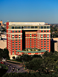 Stock photo of the old Warwick Hotel in downtown Houston, Texas