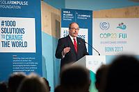 DEUTSCHLAND - BONN - Prinz Albert Grimaldi von Monaco spricht an der Präsentation der 'World Alliance for Efficient Solutions' der Solar Impulse Foundation, auf der Klimakonferenz COP 23 Fiji in Bonn - 14. November 2017 © Raphael Hünerfauth - http://huenerfauth.ch