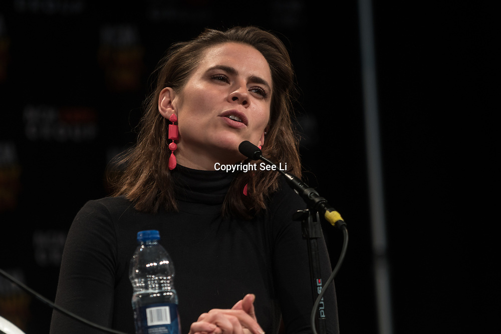 London, England, UK. 29th October 2017. Speaker Hayley Atwell talk and question at the MCM London Comic Con at Excel London.