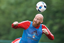 CARDIFF, WALES - Saturday, June 4, 2016: Wales' James Collins during a training session at the Vale Resort Hotel ahead of the International Friendly match against Sweden. (Pic by David Rawcliffe/Propaganda)