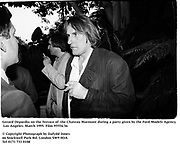 Gerard Depardiu on the Terrace of Chateau Marmont during a party given by the Ford Models Agency.  Los Angeles. March 1995. Film 95554/36<br />