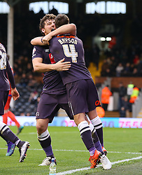 Craig Bryson ( R ) of Derby County celebrates with Chris Martin of Derby County after he scores to make it 1-1 - Mandatory byline: Paul Terry/JMP - 06/02/2016 - FOOTBALL - Craven Cottage - Fulham, England - Fulham v Derby County - Sky Bet Championship