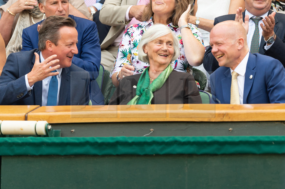 © Licensed to London News Pictures. 06/07/2018. London, UK. David Cameron, Mary Cameron and Lord Hague of Richmond  watch centre court tennis in the royal box on the fifth day of the Wimbledon Tennis Championships 2018 held at the All England Lawn Tennis and Croquet Club. Photo credit: Ray Tang/LNP
