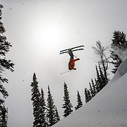 Jim Ryan gets air in the Teton backcountry after a massive winter storm.