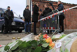 Danish Minister of Justice Mette Frederiksen (C) speaks during an interview in front of at the cultural center Krudttoenden, where a man was killed and three police officer were wounded, in Copenhagen, Feb. 15, 2015. Copenhagen's police director Thorkild Fogde said at a press conference that the police have identified the alleged offender, who was killed by police early Sunday morning in the Noerrebro neighborhood in Copenhagen. EXPA Pictures © 2015, PhotoCredit: EXPA/ Photoshot/ Shi Shouhe<br /> <br /> *****ATTENTION - for AUT, SLO, CRO, SRB, BIH, MAZ only*****