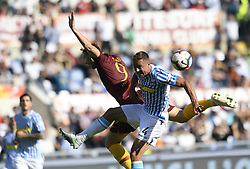 ROME, Oct. 21, 2018  AS Roma's Edin Dzeko (L) vies with Spal's Thiago Cionek during an Italian Serie A soccer match between AS Roma and Spal in Rome, Italy, Oct. 20, 2018. Spal won 2-0. (Credit Image: © Augusto Casasoli/Xinhua via ZUMA Wire)