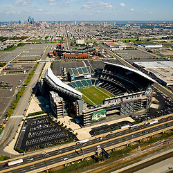 Aerial view of Lincoln Financial Field, Citizens Bank Park, Spectrum and City skyline