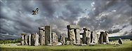 Circles of Stone - phto art of the enigmatic Stonehenge neolithic standing stone circle by Paul Williams. A dramatic atmospheric pamoramic view of Stonehenge. .<br /> <br /> Visit our LANDSCAPE PHOTO ART PRINT COLLECTIONS for more wall art photos to browse https://funkystock.photoshelter.com/gallery-collection/Places-Landscape-Photo-art-Prints-by-Photographer-Paul-Williams/C00001WetsxVxNTo