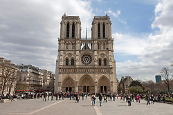 Facade of cathedral, Notre Dame Cathedral, Paris, France