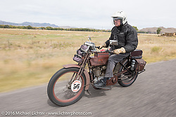 Victor Boocock of California on his 1914 Harley-Davidson during the Motorcycle Cannonball Race of the Century. Stage-10 ride from Pueblo, CO to Durango, CO. USA. Tuesday September 20, 2016. Photography ©2016 Michael Lichter.