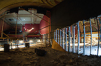 Renovation work done by Bonnette, Page and Stone at the Colonial Theater in downtown Laconia.  Upper Balcony from the stage showing middle partition wall.   ©2016 Karen Bobotas Photographer