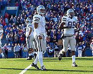 Kansas State quarterback Josh Freeman looks to the sidelines in a game against Kansas at Memorial Stadium in Lawrence, Kansas, November 18, 2006.  Kansas beat K-State 39-20.<br />